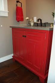 Distressed Bathroom Vanity Ideas by Bathroom Red Wooden Bathroom Vanity With Grey Top And Sink Having