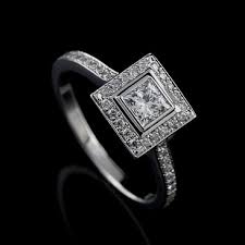 deco square rings white gold deco princess cut square halo engagement