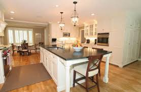 artistic pendant lights above white kitchen island with