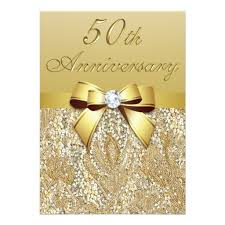 50Th Gold Wedding Anniversary Faux Sequins And Bow Invitation Card