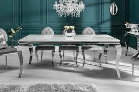 riess ambiente esstisch modern barock 200cm grau weiß glasplatte in marmor optik edelstahl beine