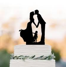Family Wedding Cake Topper With Girl Toppers Silhouette Funny Child Rustic Edding