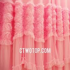 Pink And Purple Ruffle Curtains by Romantic Princess Dreamy Beautiful Pink Roses Lace Curtains In