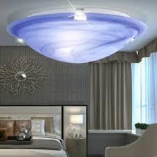 details zu decken licht leuchte wohnzimmer diele ip20 blau weiß glas energiespar le rund