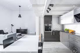 moderne möbliert loft wohnung mit offener küche und wohnzimmer