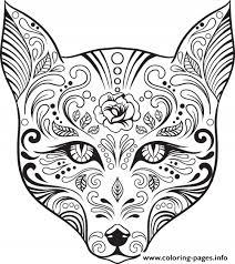 Advanced Cat Sugar Skull Coloring Pages Print Download