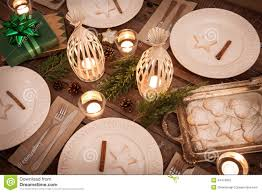 Christmas Table Setting From Above Rustic Style Natural Decorations