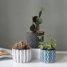 kreative zement blumentopf linie einfache wohnzimmer gartenarbeit desktop sukkulenten runde matte kaktus pflanze bonsai hause dekoration