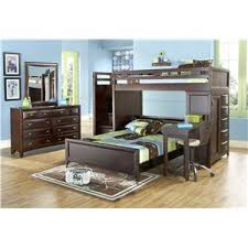 Canyon Ivy League Twin Twin Loft Bed with Desk and Stairway