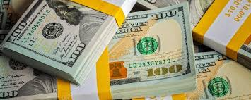 Background of new US dollars banknotes bills — Stock
