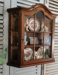 French Antique Wall Display Curio Cabinet Country with Divided