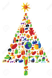 christmas tree with gifts made of icons vector icon set with