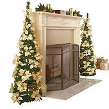 Collections Etc White Pull Up Poinsettia Christmas Tree
