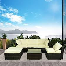 Outsunny Patio Furniture Assembly by Amazon Com Outsunny 6 Piece Outdoor Patio Pe Rattan Wicker Sofa