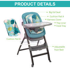 Evenflo 4 In 1 Quatore Baby High Chair (with Reclining Seat)