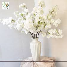 UVG 1m white artificial cherry blossom branches wholesale with silk