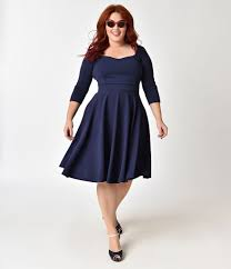 1950s Style Plus Size Navy Blue Sleeved Swing Dress