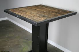 Modern Style Dining Table Reclaimed Wood And Steel Bistro Rustic Restaurant Furniture Urban Bar