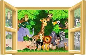 stickers jungle chambre bébé sticker enfant animaux jungle et savane pour décoration chambre bébé