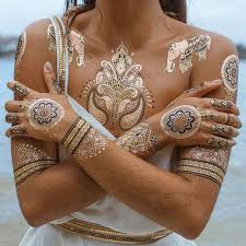 Tribal Metallic Gold Temporary Henna Tattoo Kits