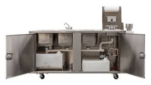 Mobile Self Contained Portable Electric Sink by 4 Bowl Clean Up Sink