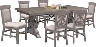 Dining Room Table And Chairs Rectangular 6 Upholstered Side Gray