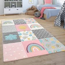 kinderteppich teppich kinderzimmer spielteppich regenbogen wolken rosa grau weiß grösse 80x150 cm