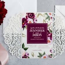 Boho Burgundy Watercolor Floral Wedding Invitation Card EWDK001 2