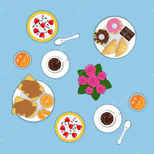 Vector Flat Romantic Breakfast For Two Persons Set Of Bakery Products Croissants Donuts Chocolate Oranges Peanut Sandwich Strawberry Cereal Sweets