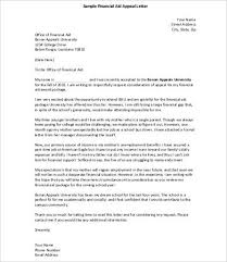 Appeal Letters Financial Aid Appeal Letter Sample Appeal Letter
