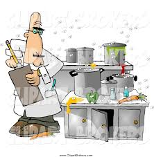 Clip Art Cartoon Of A Health Inspector Man In Dirty Kitchen At Restaurant
