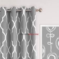Gray White Chic Geometric Pattern Moroccan Print Curtains For Living Room