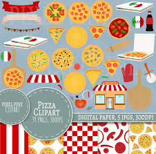 Pizza Clipart Set 39 PNGs 5 Party Digital Paper JPGs