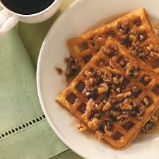 Bisquick Pumpkin Puree Waffles by Sweet Potato Waffles With Nut Topping Recipe Taste Of Home