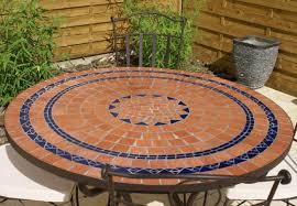 table ronde mosaique fer forge table jardin mosaique ronde 110cm terre cuite 3 cercles bleue