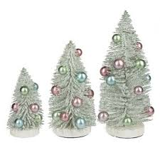 Holly Dazzle 3 Piece Bottle Brush Artificial Pine Tree Set
