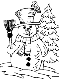 Snowman And Christmas Tree Coloring Pages For Kids To Print Free