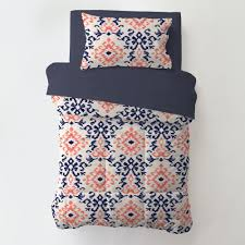 Navy and Coral Ikat 4 Piece Toddler Bedding Set