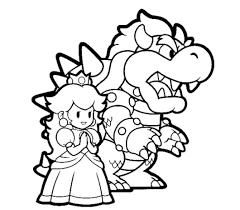 Bowser And Princess Peach Mario Coloring Pages