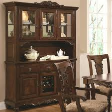 Dining Room Set With Hutch Buffet In Cherry Finish By Coaster