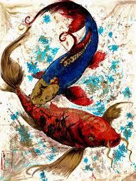 Koi Art Sumi Ink Japanese Watercolors On Paper