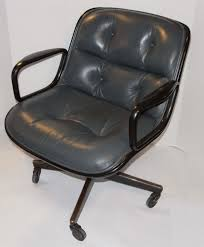 Knoll Pollock Chair Vintage by Vintage Knoll Pollock Executive Gray Leather Chair Arms Casters