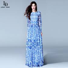 long sleeve vintage blue and white print dress brand maxi dress