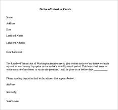 Notice To Vacate Letter Tenant From Landlord The Best Letter 2017