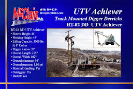 UTV Achiever Track Mounted Digger Derricks Rentals - McClain & Co ... 1995 Ford Fseries Awd Single Axle Digger Derrick For Sale By Arthur Derricks Trucks Commercial Truck Equipment Intertional In Florida For Sale Used Terex Commander 50 1997 Freightliner Fl80 6x4 Custom One 2000 Intertional 4800 Auction Or On Inventory Detail Digger Derrick Truck For Sale 1196 1999 Sterling L7501 Points West Centre F4900 King Auger Single Axle Audigger Forsale Kc Whosale 4900