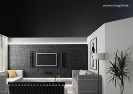 spanndecke wohnzimmer schwarz matt ciling spanndecken
