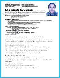 Sample Objective In Resume For Call Center Agent Without Experience Philippines Templates