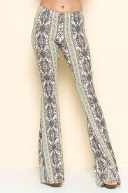 Ivory And Green Paisley Print Flare Pants