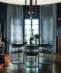 Dining Room With Gate Trellis Fabric Curtains