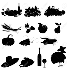 set of vector silhouette images of fall festivals and harvest Stock Vector